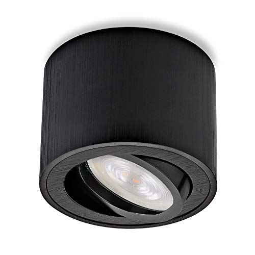sweet-led, Aufbaustrahler flach schwenkbar Rund inkl. LED Modul 5W, Aufbauleuchte aus Aluminium,Deckenleuchte, Aufputz Strahler Aufbauspot (Schwarz Gebürstet - Warmweiß)