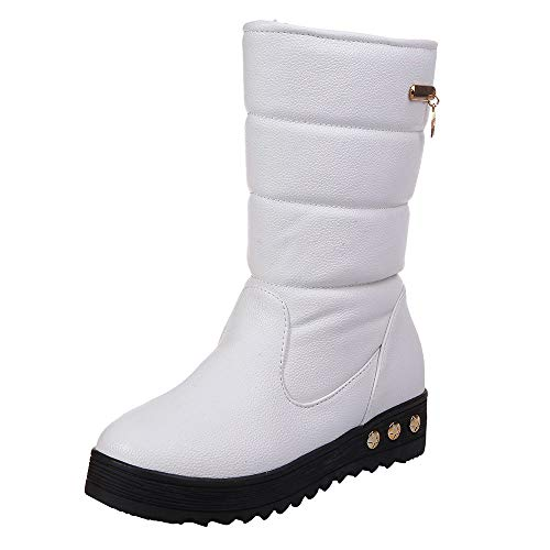 Botas de Nieve Botines Mujer, LANSKIRT Mujeres Cuero Impermeable Sólido Zapatos Planos Invierno Caliente Botas de Nieve Botas de Zapatos Zapatos de Punta Redonda Bota de Tacón Plano