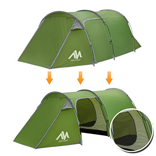 ayamaya 2 Room Tents for Family Camping 1/2/3/4 Person, Double Layer 2 Rooms [Living Room + Removable Bedroom] Easy Setup Lightweight Survival Emergency Shelter for Motorcycle Bicycle Trekking Hiking