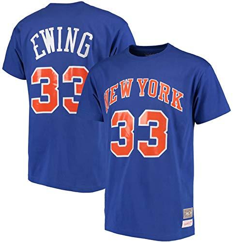 TGSCX Ropa de Baloncesto de la NBA New York Knicks 33# Ewing Cuello Redondo jeysey, cómodo Luz Superior Respirable, de Manga Corta de la Camiseta del Ocio,XXXL