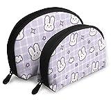 Purple Cute Bunny Cosmetic Bags Travel Makeup Bag Portable Set Women Handbag with Zipper Toiletry Storage
