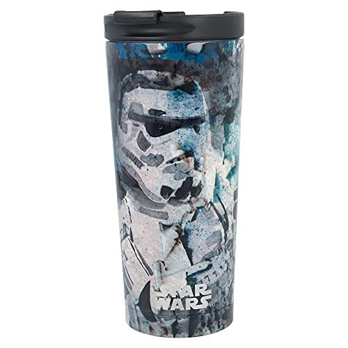 Star Wars | Termo Café para Llevar - Taza Termica de Viaje Acero Inoxidable 425 ml | Vaso Hermetico para Te o Café sin BPA con Tapa Antigoteo