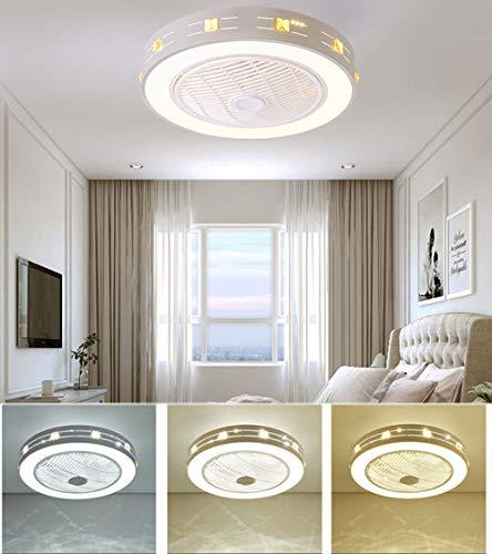 Wolong Plafondventilator, dimbaar, met verlichting en afstandsbediening, woonkamerlamp voor woonkamer, slaapkamer