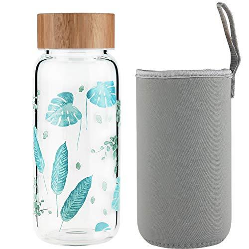 Ferexer Botella de Agua de Cristal Botella de Vidrio 600 ML
