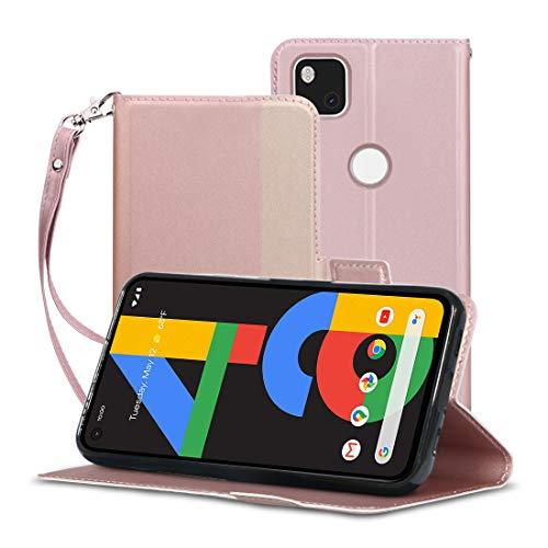 pixel4a ケース 手帳型 A-VIDET PUレザー素材 Google pixel 4aケース ストラップ付き・全面保護・カード収納・横置き機能対応 (pixel 4aケース ピンク)