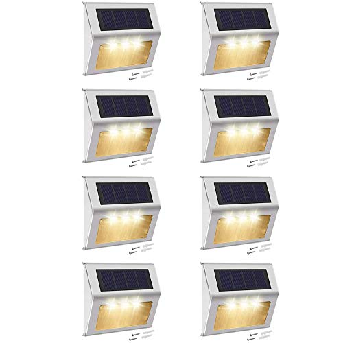 Warm White Solar Deck Lights Outdoor JACKYLED 8-Pack Stainless Steel Solar Powered LED Fence Lights Dusk to Dawn Waterproof 3000K Outdoor Step Lighting for Stairs Paths Patio