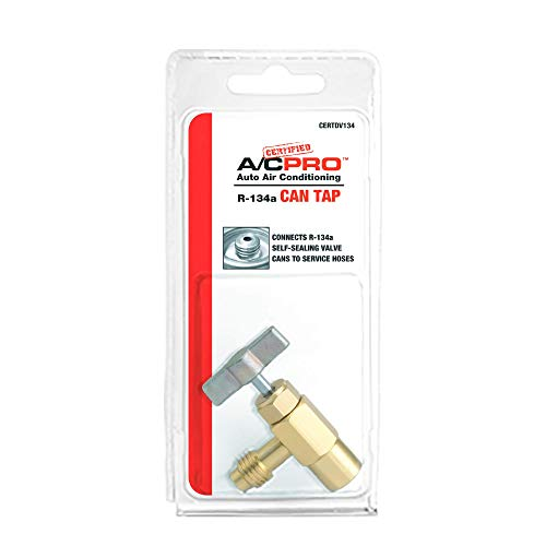 InterDynamics Certified AC Pro Car Air Conditioner R134A Refrigerant Can Tap, Use with A/C Manifold Gauge Set, Reusable, CERTDV134-6