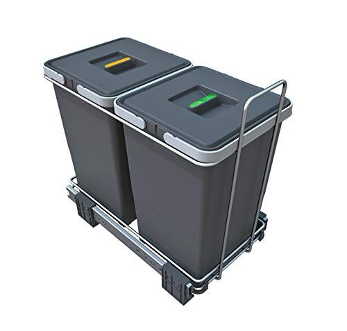 ELLETIPI PF01 34A2 ECOFIL - Papelera Reciclaje Extraíble para Base, Plástico y Metal, color Gris, 23 x 45 x 36 cm