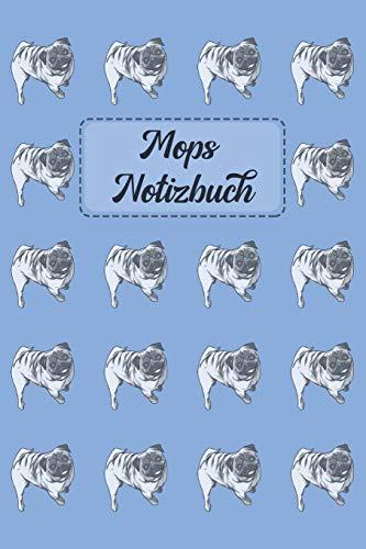 Mops Notizbuch: Journal für Notizen in hellblau mit Mops-Muster - 6 x 9 (ca. A5)
