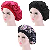 3 Pieces Sleep Caps, Women Night Sleeping Cap for Long Curly Hair, with Soft Elastic Band (Color A)