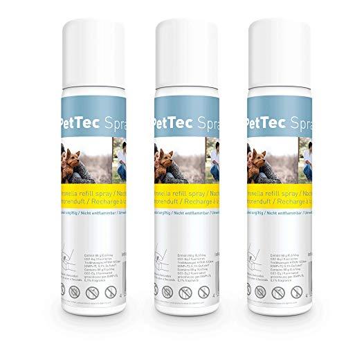 PetTec Spray Made in Germany, Lata de Repuesto para Collares de Entrenamiento, seguro para Perros y Personas, Respetuoso del Medio Ambiente y Antialérgico, ofrece un 25% más, Set de 1 o 3, 75 ml, Citronela o Neutro