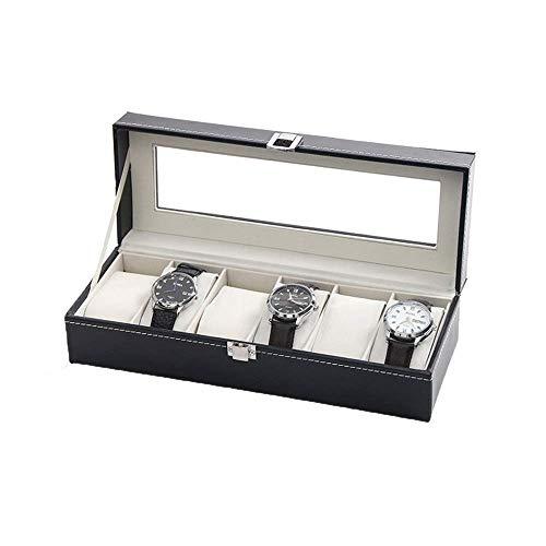 Caja de relojes Caja de reloj Caja de reloj Organizador 6 Exhibición de reloj Caja de almacenamiento Colección de joyas Organizador de caja Titular de cuero Organizador de reloj Regalo / Negro / Talla