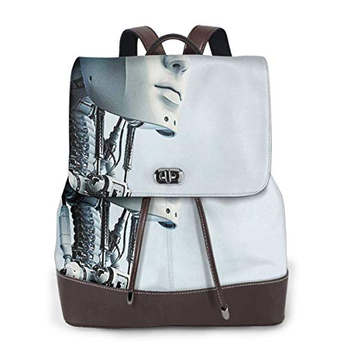 SGSKJ Rucksack Damen Futuristischer Roboter, Leder Rucksack Damen 13 Inch Laptop Rucksack Frauen Leder Schultasche Casual Daypack Schulrucksäcke Tasche Schulranzen