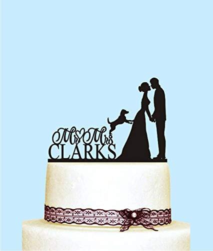 Decoración única para tarta de boda con perro de Mr y Mrs.