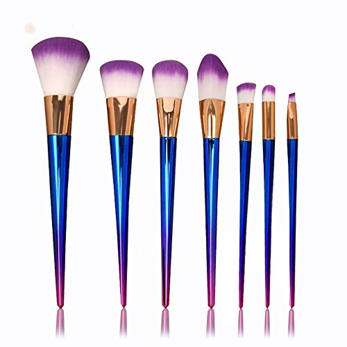Maquillage Brush Set 7 Outils De Maquillage De Beauté Poignée En Métal Brosse De Fondation,Purple