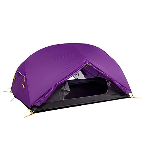 Camping Tent 20D Nylon Fabric Double Layer Waterproof Tent 3 Season For 2 Persons Water-Resistant Ventilated and Durable (Color : Purple)