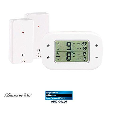 Rosenstein & Söhne Funkthermometer: Digitales Kühl- & Gefrierschrank-Thermometer, 2 Funk-Sensoren, weiß (Funkthermometer Kühlschrank)