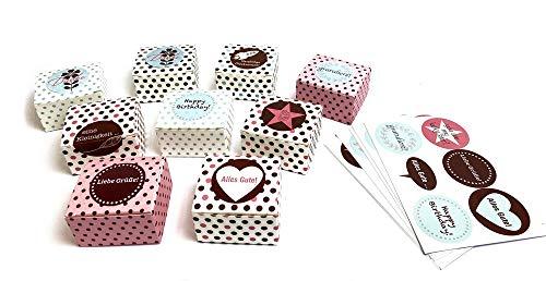 ewtshop® Pralinenschachteln, 40 Stück in 5 verschiedenen Designs, Geschenkschachteln, Geschenkboxen, Pralinenboxen, Mitbringsel, Giveaways