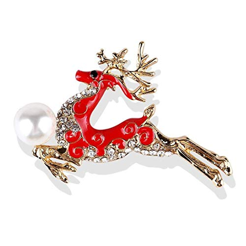Cadoline Red-Tone 4.0 x 5.5cm Gold Red Rhinestone Crystal Leaping Reindeer Brooch Christmas Pearl
