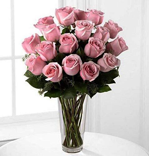 The FloralMart® Valentine's Day Glass Vase Arrangement of Pink Roses Fresh Flowers || Glass (Pink) (20 Rose)