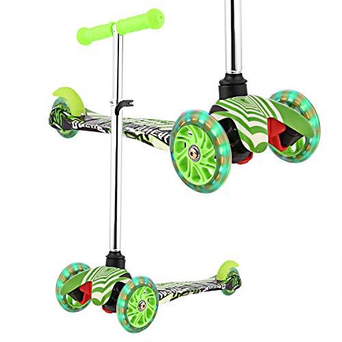 WeSkate Roller Kinder ab 2 Jahre Dreirad Scooter Kinderscooter für Jungen Mädchen Kleinkinder mit Graffiti Deck Einstellbare Höhe Mini Kinderroller PU Räder
