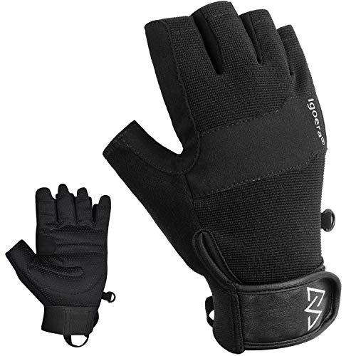 Igoera Kletterhandschuhe mit hochwertigen u. robusten Nähten, Fingerhandschuhe zum Klettern u. Bouldern für mehr Grip u. Schutz am Fels u. an der Wand, Unisex (L)
