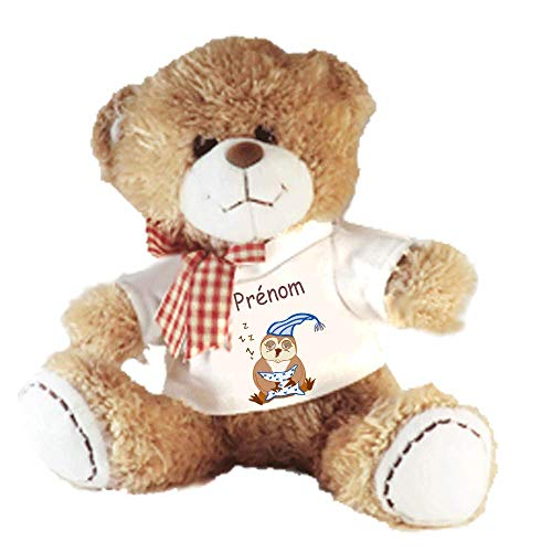 Peluche Nounours avec un Tee shirt Chouette Personnalisable avec un Prénom Exemple Pauline