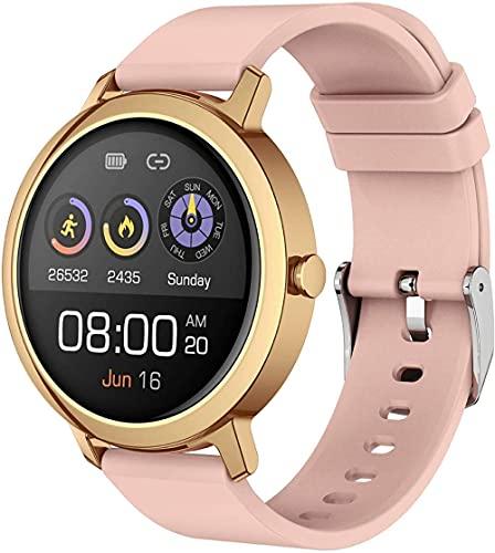 JSL Regalo para mujer, pulsera inteligente, monitor de salud de la presión arterial, podómetro de llamada Bluetooth, reloj deportivo, pulsera impermeable