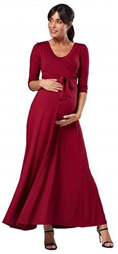 HAPPY MAMA. Para Mujer Vestido Largo premamá y de Lactancia 3/4 Mangas. 608p (Carmesí, 38, M)