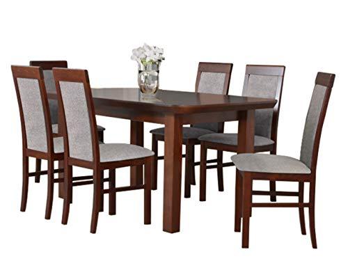 Mirjan24 Esstisch mit 6 Stühlen DM61, Esstischgruppe, Sitzgruppe, Esszimmer Set, Küchentisch, Esstisch Stuhlset, Esszimmergarnitur, DMXZ (Nuss/Nuss Inari 23)