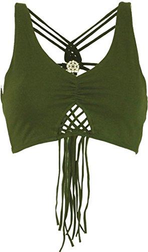 GURU SHOP Goa Psytrance Bikini Top, Top, Pixi Top, Fransentop, Damen, Olive, Baumwolle, Size:38, Tops & T-Shirts Alternative Bekleidung