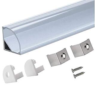 StarlandLed Perfil de Aluminio, 6x100cm Perfil de Aluminio LED para Luces de Tira del LED con Cubierta Transparente, Los Casquillos de Extremo y los Clips de