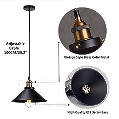 Retro Pendant Light Shade Vintage Industrial Ceiling Lighting LED Restaurant Loft Black Lamp Shade Kitchen Coffee-Shop Chandelier E27 Base #2