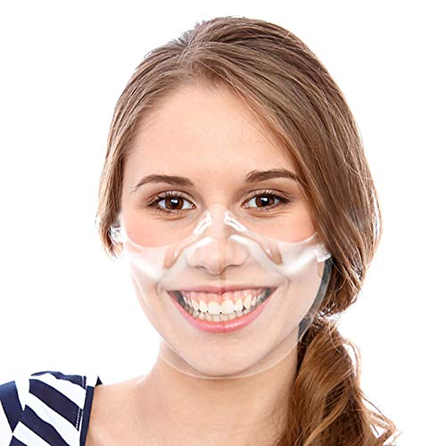 Anti-Fog Clear Mask Face Shield- Breathable Plastic Open Face Guard with Ear Hook Anti-Spitting Protective Face Covering Transparent Face Mask for Chef Waiter Restaurant Food Truck Beauty Salon