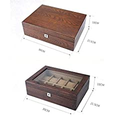 NHLBD Watch storage box Old Elm Pure Solid Wood Skylight Watch Box Storage Box High-end Solid Wood Wooden Display Box With Lock fashion (Color : C) #4