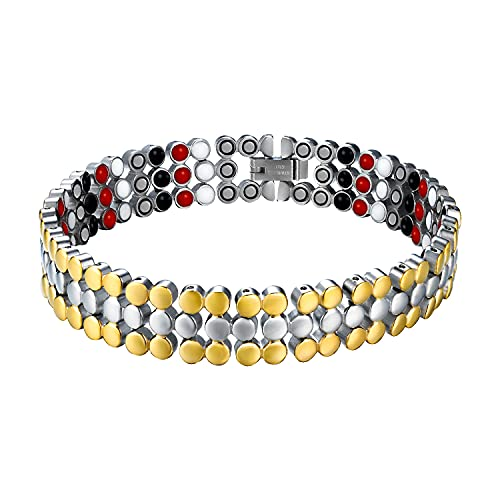 Jeracol Manetic Bracelets for Women, Titanium Steel Magnetic Therapy Bracelet to Arthritis Pain Relief, Unique Gold and Silver Round Bead Design, Adjustable Size, Removal Tool & Gift Box