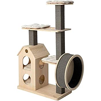 Amazon Com Zyk Wooden Cat Tree Modern Cat Furniture Cat Condo With House Cat Scratching Post Indoor For Cats And Kittens Cat Tree Wooden Belt Mute Running Wheel Pet Supplies