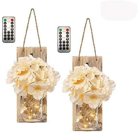 FRIDEKO HOME 2 Pack Mason Jar Wall Sconces + 6 Modes Timer Remote Control/Vintage Hanging LED Fairy String Light + Artificial Flower for Festoon Party/Garden/Christmas/Patio/Wedding Décor