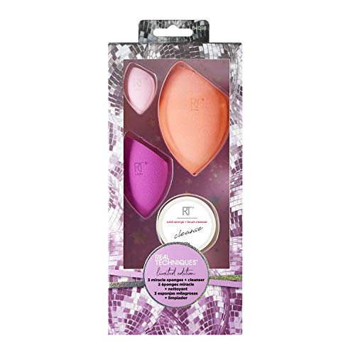 Real Techniques Miracle Beauty Blender Sponge Set with Makeup Brush Cleaner, Set of 3