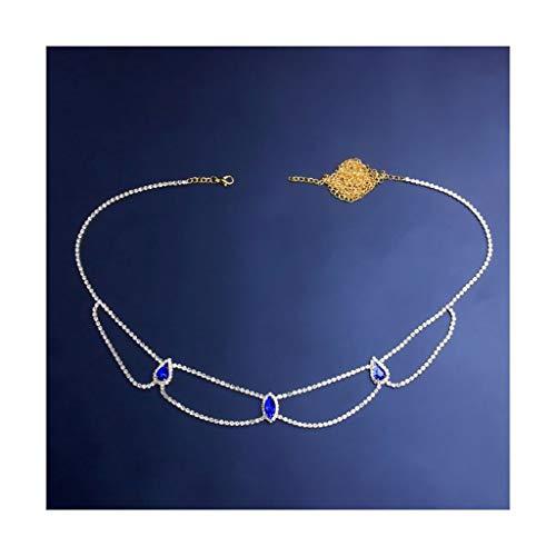 Cadenas del cuerpo de Rhinestone Cadenas de la cintura del vientre de la vendimia Cadenas de la borla Vintage Cadenas de la playa Cadenas de la cintura en capas Cinturón de moda Cinturón Accesorios de