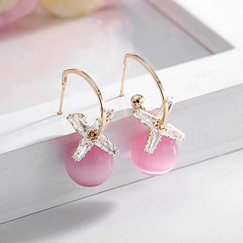 S925 aguja de plata temperamento perla pendientes pendientes zircón pendientes zircón pendientes Oro (piedra de ojo de gato rosa)
