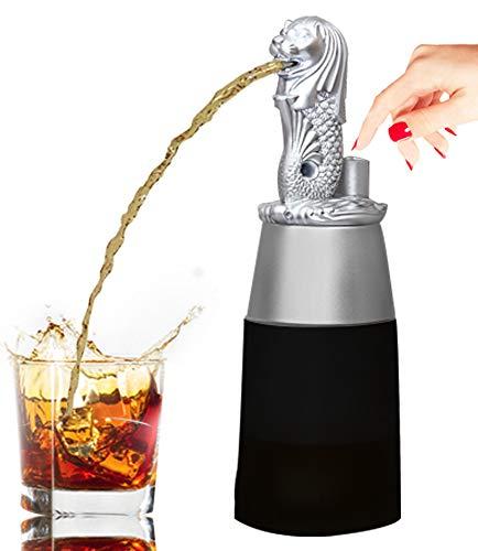 Barraid Singapur Lion Silver Round Shape con dispensador de licor en tarro negro, capacidad de 500 ml