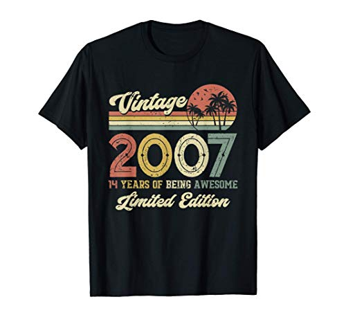Vintage 2007 Retro 14 Year Old 14th Birthday Gift Boys Girls T-Shirt
