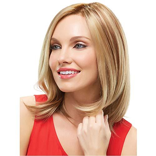 GQF Pelucas Peluca Delantera de Encaje Moda para Mujer Color marrn Cabello Corto para Mujeres Pelucas rizadas rubias Alambre de Alta Temperatura Resistente al Calor