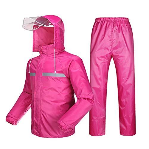 YXWJ Chaqueta Impermeable para Hombre/Mujer/Trajes de pantalón Abrigo/pantalón a Prueba de Viento Conjunto Impermeable de Motocicleta con Capucha Oculta