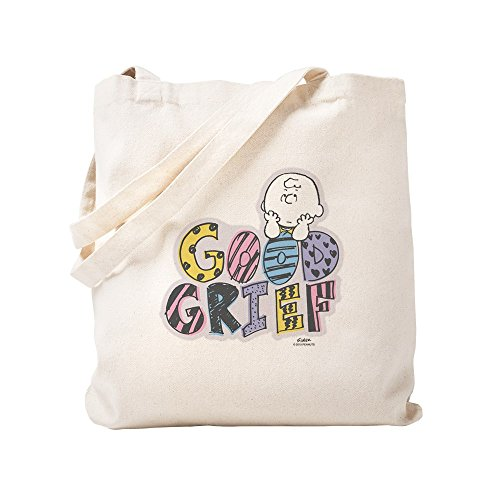 CafePress Charlie Brown Good Grief Natural Canvas Tote Bag, Reusable Shopping Bag