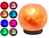 ESOW Himalayan Salt Lamp Multi Color Changing, 3 Watts LED Bulb & Wood Base, Small Size About 3.3'/1.6lbs, Handcraft Natural Ball Shape Salt Lamp for Best Gift & Great Décor, No Installation Required