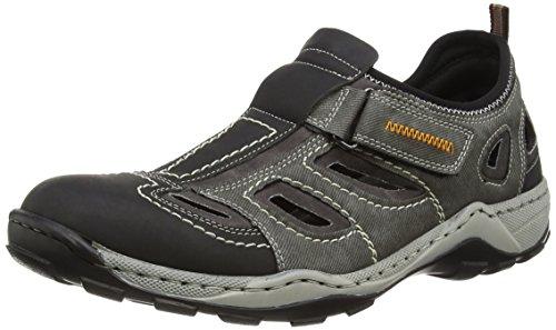 Rieker Herren 08075 Sneaker, Grau (Schwarz/rauch/rauch/03), 42 EU
