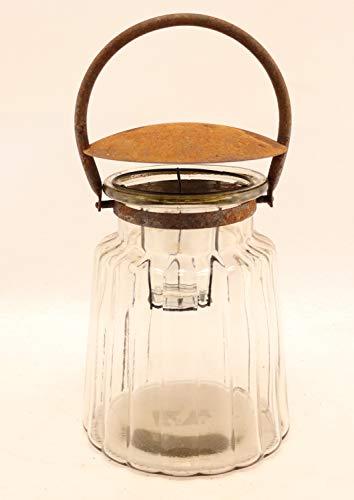 Hirsch Terracotta Glaswindlicht mit Deckel, Dekoglas mit Abdeckung H:36cm Ø 17cm mit Teelichteinsatz