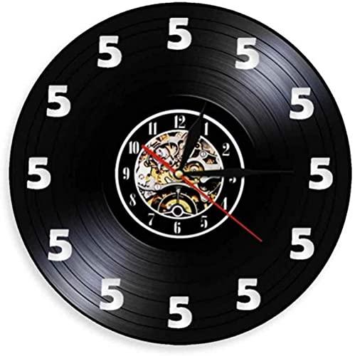 XYVXJ Siempre Son Las Cinco en algún Lugar Vino O Reloj Solo 5 Reloj de Bolsillo Disco de Vinilo Real Reloj de Pared Amantes del Vino Regalo de Hombre de Las cavernas